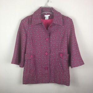 Esley pink/ gray geometric pea coat 3/4 sleeves